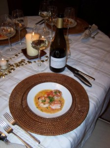 shrimp -white chocolate and sauvignon blanc